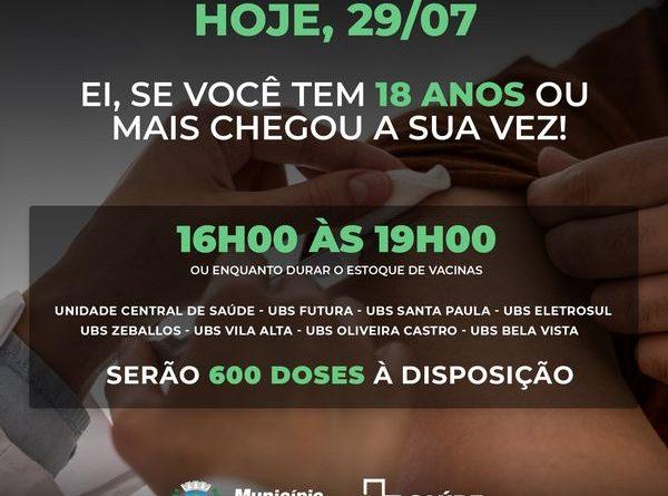 Guaíra cronograma de vacinação para hoje quinta feira 29/07